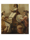 Morning Employments&#39;: Three Young Girls by a Spinet, Playing, Conducting and Embroidering Giclee Print by Henry William Bunbury (Attr to)