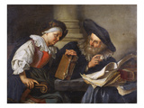 A Scholar Reading to an Old Woman at a Table Reproduction procédé giclée par Jacob Toorenvliet