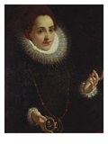 Portrait of a Lady, Half Length, in a Ruff and Dark Dress, Holding a Portrait Miniature of a Giclee Print by Lodovico Carracci (Attr to)