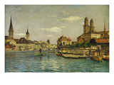 A View of Zurich with the River Limmat from the Quaibrucke Looking Towards the Fraumunstkirche,… Posters by Otto Pilny