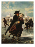 Lovers Skating Prints by Adolf Alexander Dillens