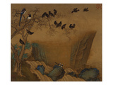 Mynah Birds Gathering in a Tree by a Stream. from an Album of Bird Paintings Giclee Print by Gao Qipei