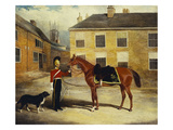 An Officer of the 6th Dragoon Guards, Caribineers with His Mount in the Barrack's Stable Yard Giclee Print by John Frederick Herring II