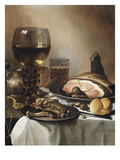 A Breakfast Still Life of a Roemer Ham and Meat on Pewter Plates, Bread and a Gold Verge Watch on… Impression giclée par Pieter Claesz