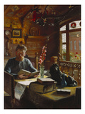 A Man Reading in an Interior Art by Knud Christian Soeborg