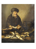 A Fishmonger Holding a Pike, with Bream, Perch and Other Fish on a Ledge Premium Giclee Print by Pieter de Putter