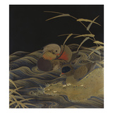 A Roironuri Ground Suzuribako Depicting Two Mandarin Ducks Giclee Print