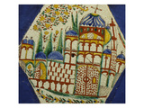 A Kutahya Pottery Hexagonal Tile Depicting a Cathedral with Floral Spray Above Posters