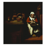 An Old Woman Making Lace in a Kitchen Giclee Print by Nicholaes Maes