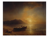 A Coastal Landscape with Arab Fishermen Launching a Boat at Sunset Posters by Jean Antoine Theodore Gudin