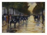 Berlin Streetscene in the Rain; Berliner Strassenszene in Regen Art by Lesser Ury