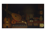 A Still Life of a Large Viol, a Lute, a Violin, a Recorder, and a Harpsichord with a Terrestrial… Giclee Print by Jon Arnold