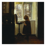 A Girl Standing by a Sewing Table Giclee Print by Carl Holsoe