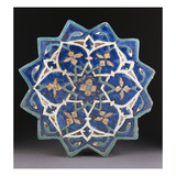 A Samarkand Cuerda Seca Stellar Tile of Twelve Pointed Form, the Blue Ground with a Central… Print