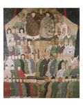 A Chinese Ancestor Scroll Depicting a Seated Dignitary and His Wife with Ro Prints