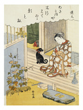 A Courtesan Seated on a Veranda Brushing Her Teeth and Pensively Looking at Flowering Morning Glory Prints by  Harunobu