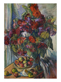 Still-Life with Flowers and Apples; Nature Morte Aux Fleurs Et Pommes Giclee Print by Nicolas Tarkhoff