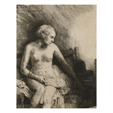 A Woman at the Bath with a Hat Beside Her Giclee Print by  Rembrandt van Rijn