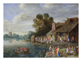 A River Landscape with Gentry at a Village Inn Giclee Print by Jan van Kessel