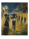 A Berlin Street Scene with Coaches; Kutschen, Berliner Strasse Print by Lesser Ury