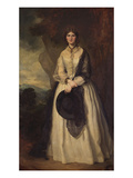 Portrait of a Lady Standing Full Length, Wearing a White Dress, a Black Shawl and Holding a Black… Art by Sir Francis Grant