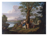 An Extensive Italianate River Landscape with a Nymph Plucking a Branch from a Bleeding Tree Impressão giclée por Andrea Locatelli