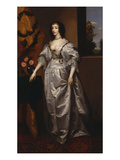 Portrait of Queen Henrietta-Maria, Full Length Wearing a Grey Satin Dress, by a Table, with a… Print by Sir Anthony Van Dyck (Follower of)