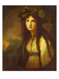Portrait of Lady Hamilton as a Bacchante, Half Length, in a White Dress with a Blue Sash and a Giclee Print by George Romney