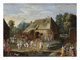 Gentry at a Peasant Dance in a Farmyard Giclee Print by Jan van Kessel