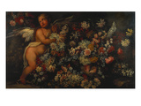 Flowers in and around a Basket with a Winged Putto Making a Garland Giclee Print by Felice Fortunato Biggi