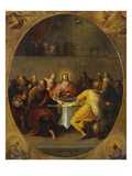 The Last Supper in a Painted Oval in a Surround Decorated with the Four Evangelists and God the… Giclee Print by Frans Francken the Younger