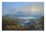 General View of the Town and Lake of Lucerne; Vue Generale De La Ville Et Du Lac De Lucerne Prints by Louis Bleuler