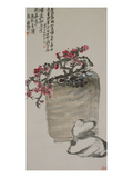 Plum Blossoms on an Earthen Ware Poster by Wu Changshuo