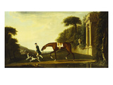 A Chestnut Hunter Being Led by a Groom with Two Hounds Outside a Country Estate Posters by R. Roper