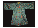 A Padded Informal Robe of Sea Green Silk, Scattered with Butterflies Amongst Prunus Blossom,… Art