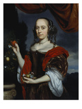 Portrait of a Young Woman Standing Three-Quarter Length, Wearing a Brown Dress and a Red Wrap,… Art by Nicolaes Maes