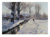 A Wooded Winter Landscape, Brondbyvester Premium Giclee Print by Peder Mork Monsted