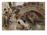 Figures on a Venetian Canal Giclee Print by Ludwig Passini