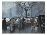 A Flower Market, Hojbroplads, Copenhagen Giclee Print by Paul Fischer