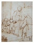 The Holy Family with the Infant Baptist in the Carpenter's Shop Giclee Print by Luca Cambiaso