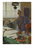 My Wife (Karin in the Studio] Premium Giclee Print by Carl Larsson
