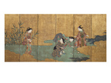 One of a Pair of Six-Leaf Screens Depicting a Group of Three Young Women and an Actor Collecting… Posters