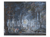 Figures on a Path in a Wood Reproduction procédé giclée par Karl Girardet