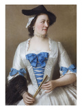 Portrait of Lady Tyrrell, Three Quarter Length, in a White Silk Dress with Blue Watered Silk Bows… Poster by Jean-Etienne Liotard
