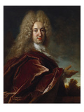 Portrait of a Gentleman, Wearing a Long Wig, Lace Jabot and Burgundy Colour Cloak Prints by Nicolas de Largilliere