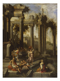 Capricci of Classical Ruins with Water Carriers, Philosophers and Noblemen (Left Panel) Premium Giclee Print by Giovanni Ghisolfi (Circle of)