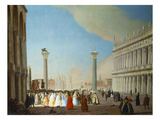 The Piazzetta, Venice, Looking South from in Front of the Facade of San Marco Prints by Luca Carlevaris