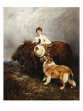 Portrait of Lady Margaret Douglas-Home with a Shetland Pony and a Collie Giclee Print by John Emms