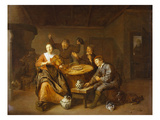 An Interior of an Inn with Peasants Making Merry, a Monk Begging for Alms at the Door Giclee Print by Jan Miense Molenaer