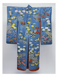 A Furisode of Sky Blue Silk Satin Embroidered in Coloured Silks and Couched Gilt Threads with… Giclee Print